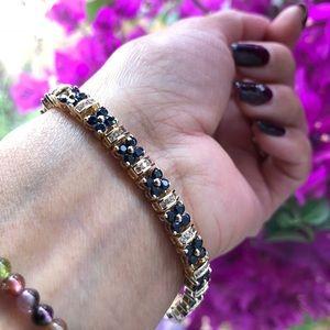 14K Yellow Gold Sapphire & Diamonds Bracelet.